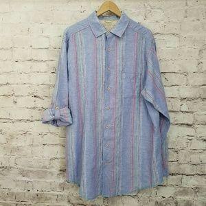 Caribbean Mens XLT Purple Blue Linen Striped